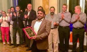 Dr Rajeev K Varshney with award of recognition for leadership and contributions to peanut research, during the 9th AAGB in Cordoba, Argentina. Photo: Dr Baozhu Guo