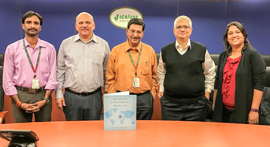 ICRISAT Internal Audit team with external auditors Mr Deepak Wadhawan and Mr S Bhaskar. Photo: M Ramalingeswara Rao