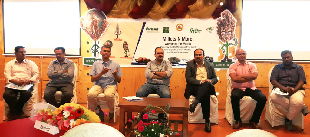 Dr Prabakar, UASB; Mr. Arun, Koulagi Foods; Hon'ble Krishna Byre Gowda; Dr Vilas Tonapi, IIMR; Dr Bhaskarachary, NIN; Mr Jayaram, Green Path; Dr Oliver King, MSSRF; Mr Chandrashekar, Industry and media representative; Joanna Kane-Potaka, ICRISAT.