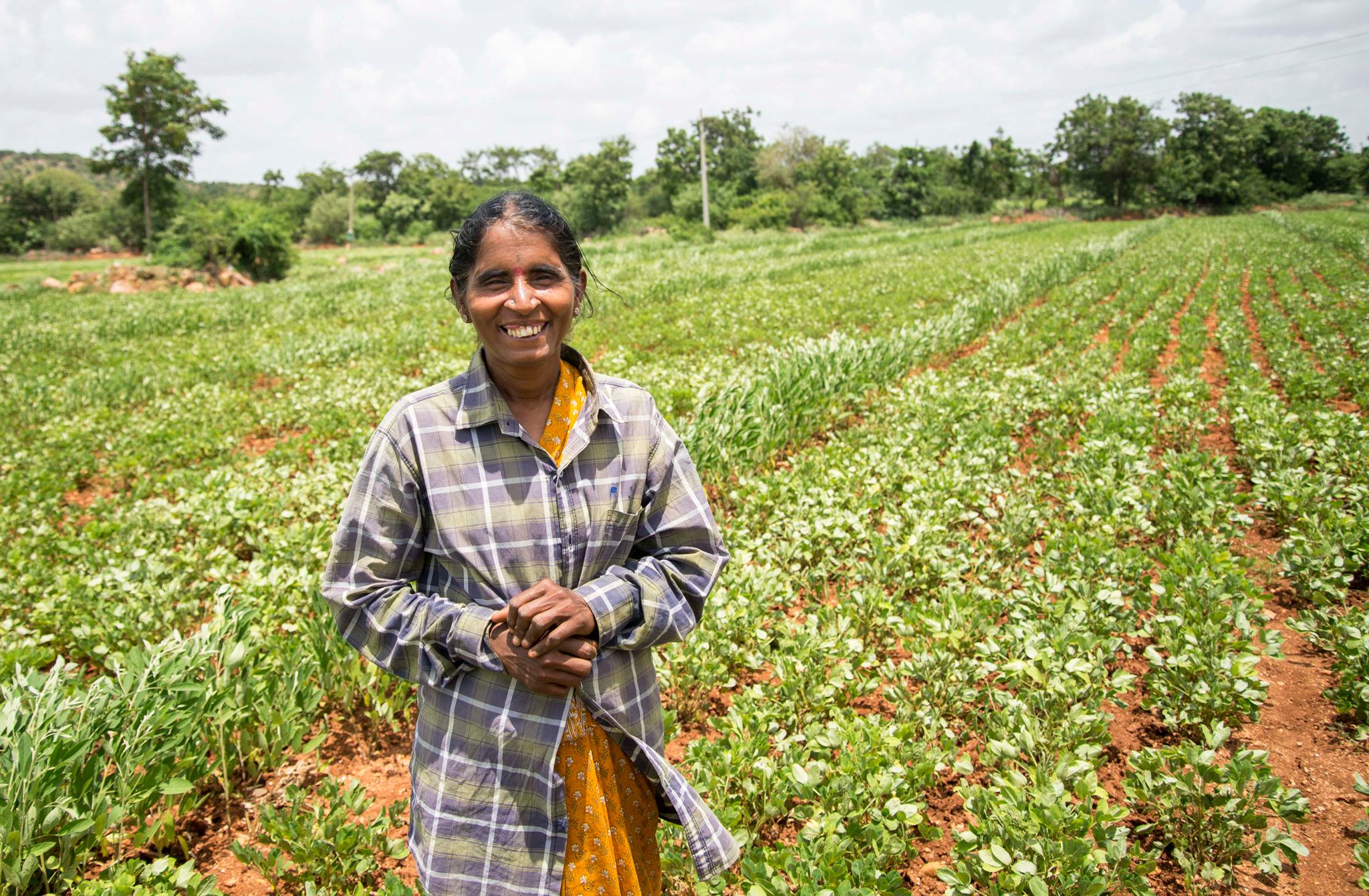 Rameswari Devi at her field in Devanakonda, Andhra Pradesh.