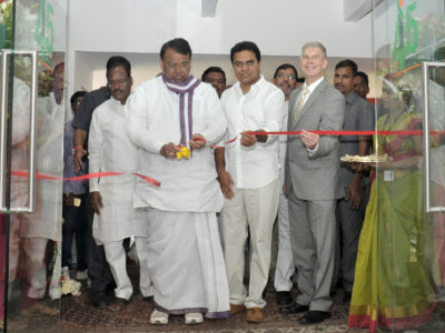 Sri PS Reddy, Telangana Agriculture Minister, Sri KT Rama Rao, Telangana IT Minister and Dr. David Bergvinson, Director General of ICRISAT open ICRISAT's new iHub facilities in Hyderabad, India.