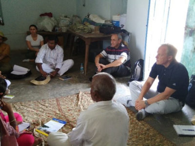The project interacts with a farmer. Photo: P Jyotsna, ICRISAT