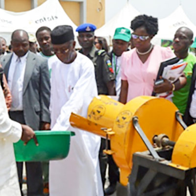 Dr Ajeigbe and Mr Audu Ogbeh taking a tour of ICRISAT stand during the flag-off ceremony. Photo: Hakeem Ajeigbe, ICRISAT