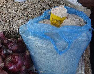 Milled groundnut powder (nsinjiro) sold in markets in Zambia.