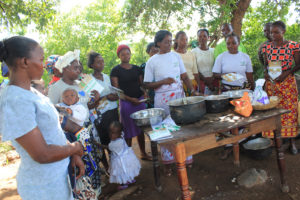 Lydia Muthoni and Harriet Kareithi conducting a class at Nairobi Ndogo village.