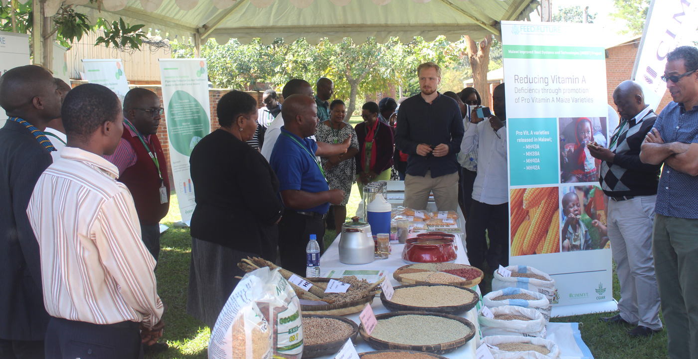 A display stall at the Innovation Open Forum attracts visitors. Photo: L Lazarus, ICRISAT