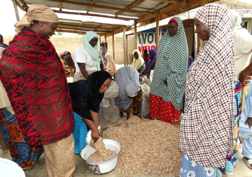 Des femmes en activité au centre de transformation de l'arachide. Photo: WOFAN