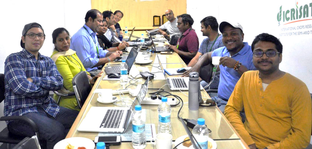 The team from Cornell University and ICRISAT working on the deployment of GOBII production release v1 'Cascadilla'. Photo: B Anjaiah, ICRISAT