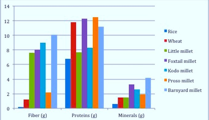 A comparison of nutritional values of cereals and various millets