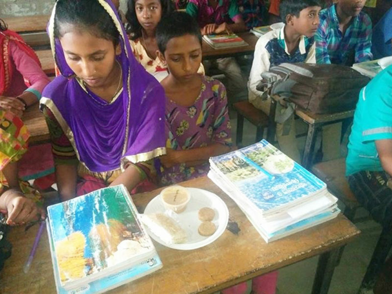 Peanut-based product evaluation at Belgasha Government Primary School, Jamalpur District, Bangladesh. Photo: BARI