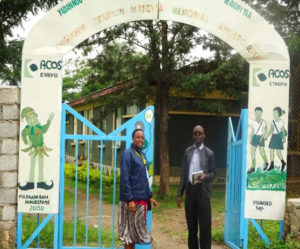 Dr Esther Njuguna-Mungai, Gender Scientist, ICRISAT, and Dr Chris Ojiewo, Coordinator-TL III, at the kindergarten at ACOS factory, Adama, Ethiopia. Photo: B Fenta