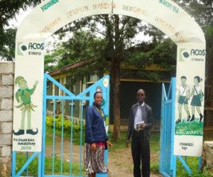 Dr Esther Njuguna-Mungai, Gender Scientist, ICRISAT, and Dr Chris Ojiewo, Coordinator-TL III, at the kindergarten at ACOS factory, Adama, Ethiopia. Photo: B Fenta