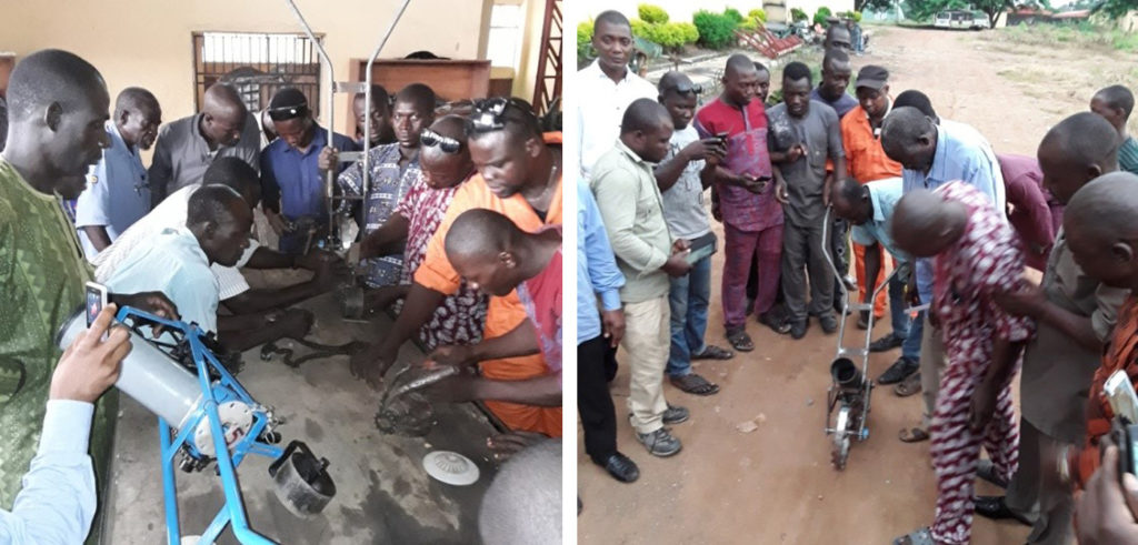 Participants being trained in using and testing a fabricated hand pushed planter. Photos: Aliyu Adinoyi, ICRISAT