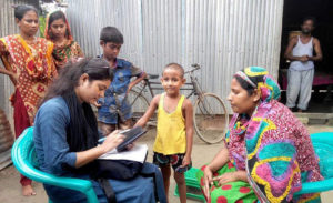 Enumerators record anthropometric data for the first phase of the baseline survey in Belgasa Miapara, Jamalpur district, Bangladesh. Photo: ICRISAT