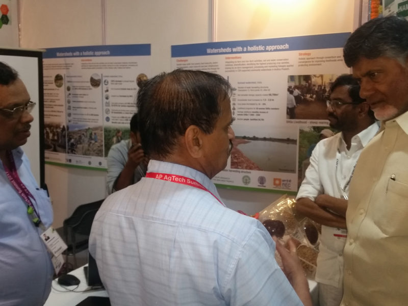 Chief Minister Naidu interacting with ICRISAT scientists.