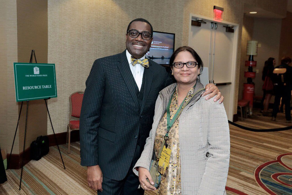 2017 World Food Prize Laureate Dr Akinwumi Ayodeji Adesina with Dr Pooja Bhatnagar-Mathur at the symposium.