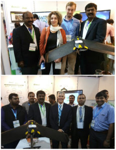 Surveillance drone with ICRISAT's ihub partners and visitors.