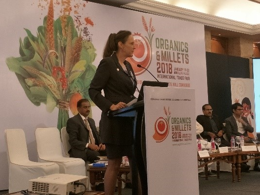 Joanna Kane-Potaka, Director, External Relations and Strategic Marketing, ICRISAT, presenting some of the pan-India millet consumer survey results in Delhi.