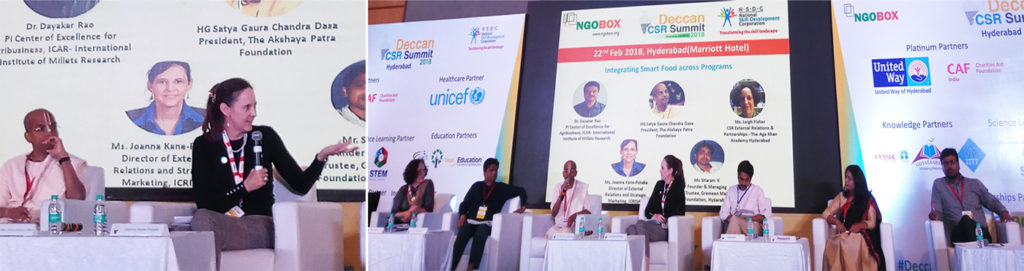 Joanna Kane-Potaka, Director External Relations and Strategic Marketing, ICRISAT, moderated a discussion on Smart Food at the Deccan CSR Summit Photo: NGO Box