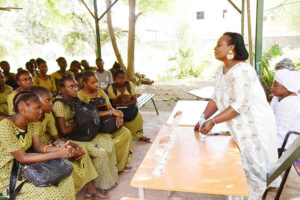 Dr Keita Djeneba Konaté holding the attention of young women at Lycée Notre Dame du Niger. Photos: A. Diama