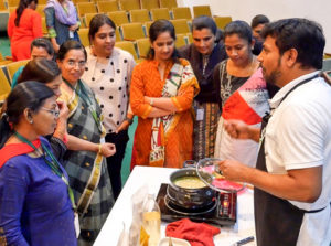 Mr Sridhar Iriventi also gave a live demonstration of cooking a millets-based dish. Photo: S. Punna
