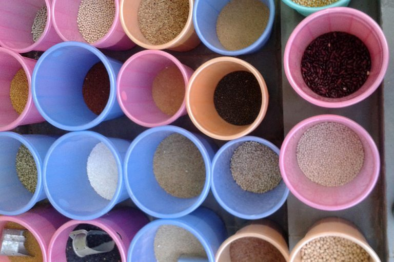 Cereals and Millet at a market in Nizampet, Hyderabad. Photo by Adityamadhav83/Wikimedia Commons