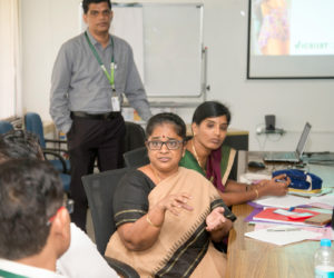 Dr R Vijayalakshmi of KVK, Virudhunagar, Tamil Nadu, making a point at a recent workshop on systems modeling. Photo: S Punna, ICRISAT