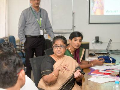 Dr R Vijayalakshmi of KVK, Virudhunagar, Tamil Nadu, making a point at a recent workshop on systems modeling. Photo: S Punna, ICRISAT