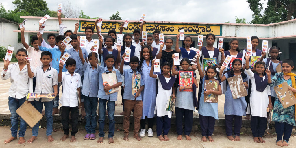 Adolescents with the pamphlet. Photo: ICRISAT