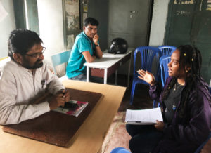 Interviewing a science teacher at the Lakkaram school in Adilabad. Photo: ICRISAT