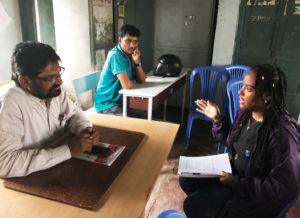 Interviewing a science teacher at the Lakkaram school in Adilabad. Photo: ICRISAT