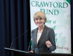 Julie Bishop, MP Australian Minister for Foreign Affairs, speaking on Smart Food at the Crawford Fund's annual conference. Photo: Crawford Fund