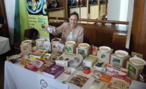 ICRISAT assistant director general Joanna Kane-Potaka with a collection of Smart Foods made of sorghum and millet at the Crawford Fund annual conference in Parliament House, Canberra.