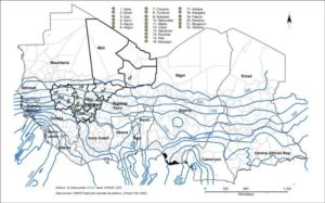 Figure 1. Locations of 22 sites in Mali selected for characterization of drought stress patterns.
