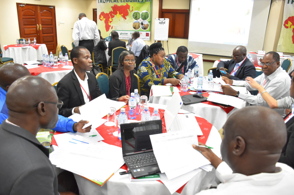 Participants from CG and NARS institutes discuss on refining the MLE forms. Photo: ICRISAT