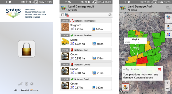 Screenshots from the STARS-One Android app, developed by MANOBI, ICRISAT and other STARS partners to stream remotely sensed diagnostic metrics on crop performance, soil fertility, and yield gaps for individual smallholder fields. Here, DigitalGlobe[10] time series from the WorldView2 sensor were used.