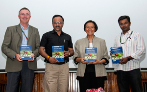 Dr Peter Carberry, Deputy Director General Research, ICRISAT, with the editors at the book launch.. Photo: PS Rao, ICRISAT