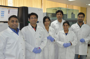 Dr Rajeev Varshney (left) with some researchers from ICRISAT