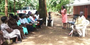 Dr Maureen Cheserek, Nutritionist, Egerton University, addressing mothers at Elgeyo Marakwet. Photo: ICRISAT