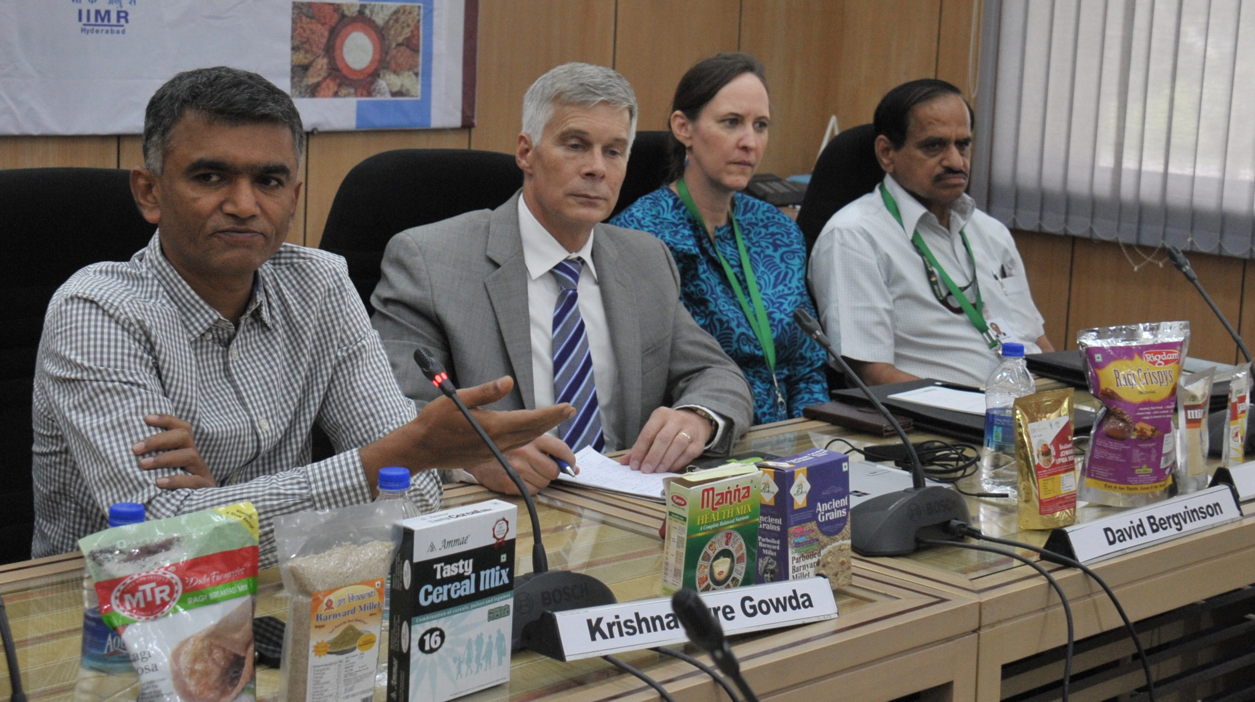 (L - R) Krishna Byre Gowda, Hon'ble Minister for Agriculture, Government of Karnataka, Dr David Bergvinson, Director General, ICRISAT, Joanna Kane-Potaka, Director - Strategic Marketing & Communication, Dr Suhas P Wani Director - Asia program.