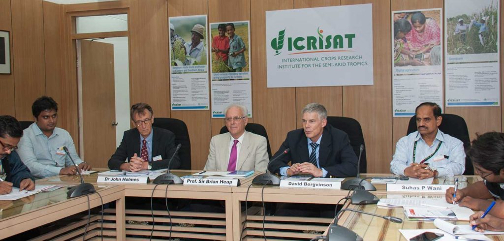 ICRISAT DG David Bergvinson; Special Advisor Smart Villages Initiative Sir Brian Heap; Co-Leader SVI John Holmes; and ICRISAT Asia Director Suhas P Wani at the press meet today. Photo: ICRISAT