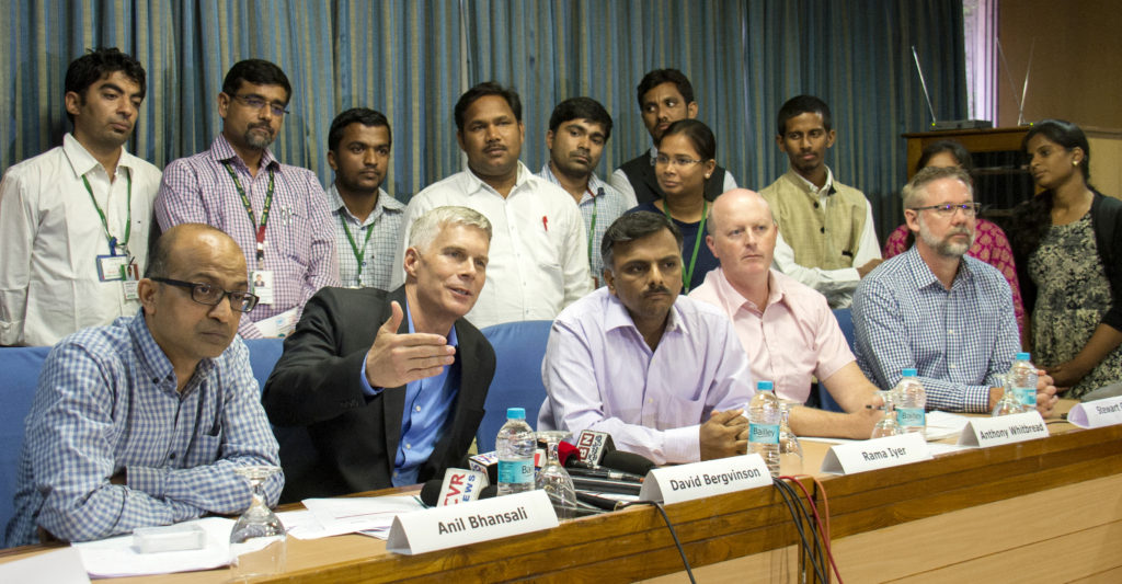 (L to R) Mr Bhansali, Dr Bergvinson, Mr Iyer, Dr Whitbread and Mr Collis addressing the press. Photo: S Punna, ICRISAT