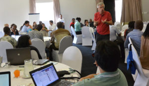Social media coordinator Peter Casier explaining different social media tools. Photo: Ratih Nawangwulan