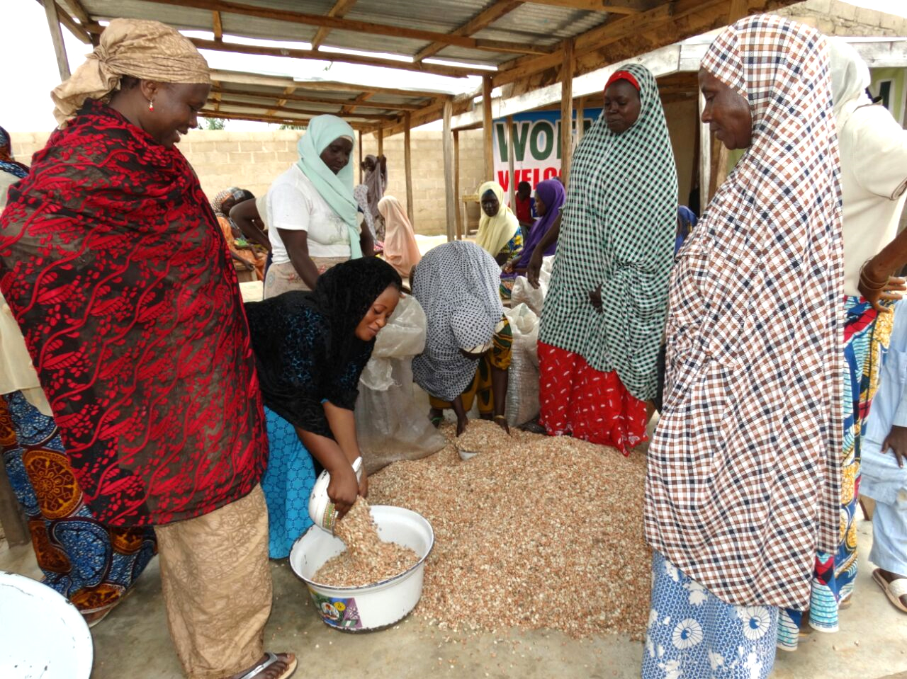 Women at the groundnut processing center.