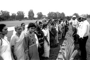 Farmers attend the first women's farmers day at ICRISAT Patancheru, 1992.
