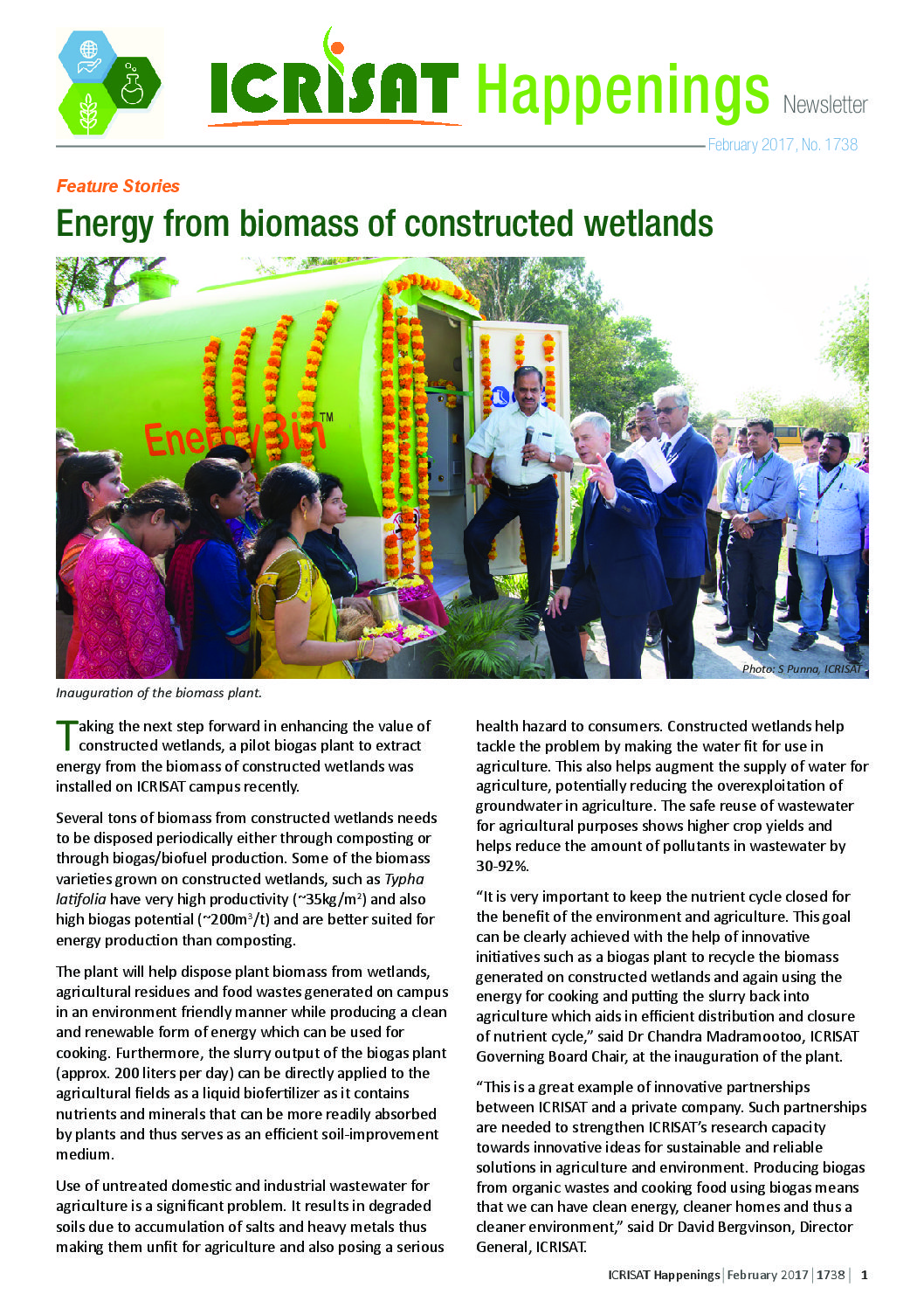 Inauguration of the biomass plant. Photo: S Punna, ICRISAT