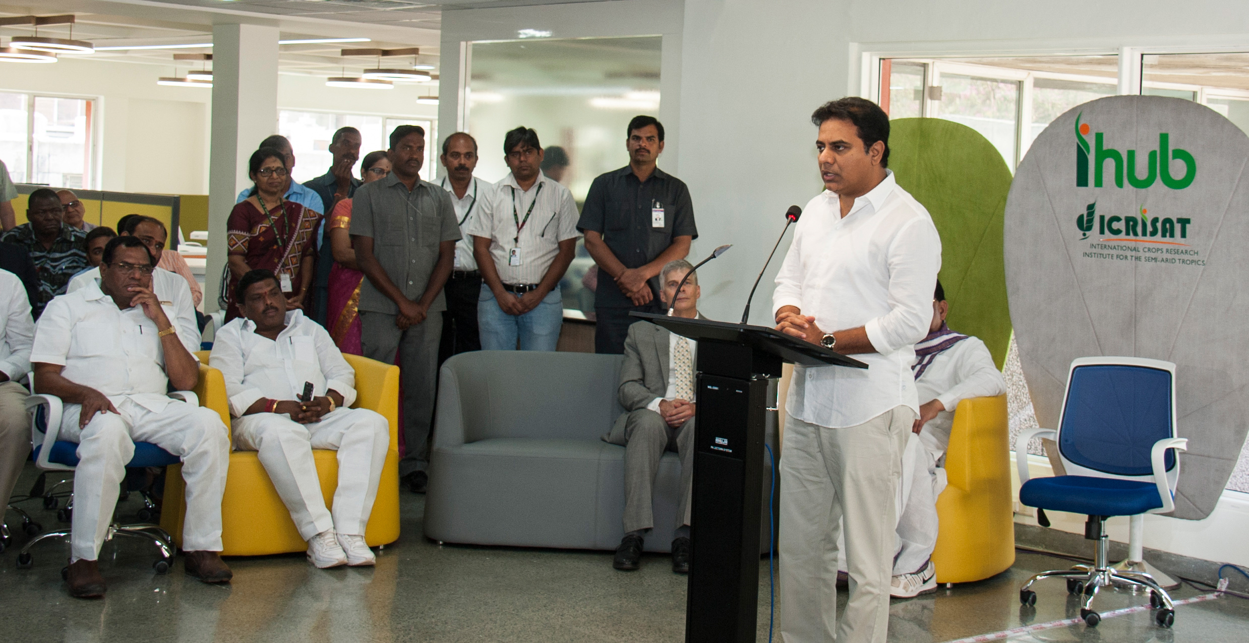 Telangana IT Minister Sri KT Rama Rao, speaking at the opening of ICRISAT's new innovations Hub (iHub) in Hyderabad, India.