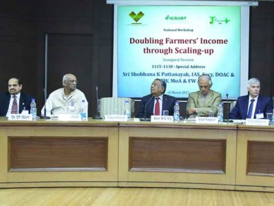 Dignitaries on the dais at the National Workshop on Doubling Farmers' Income through Scaling-up.