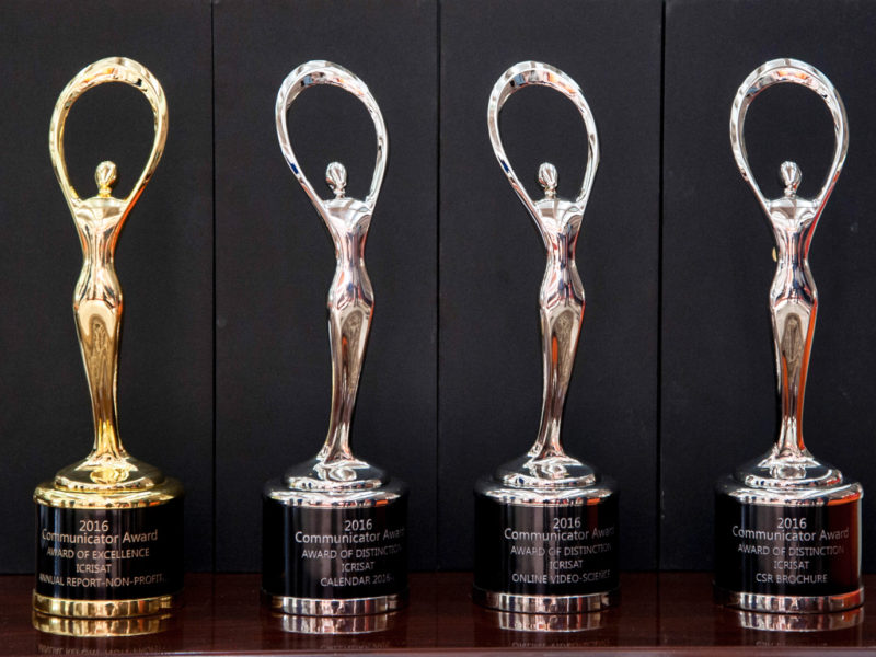 The communicator awards trophies Photo: PS Rao, ICRISAT