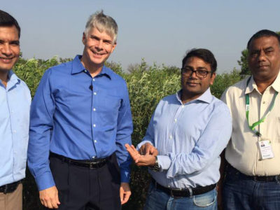 L-R: ICRISAT's Dr Rachit Saxena, Senior Scientist (Pigeonpea Genomics) with Director General Dr David Bergvinson, Research Program Director and Project Director Dr Rajeev K Varshney and Dr Sameer Kumar, Principal Scientist (Pigeonpea Breeding). Photo: S Sharma, ICRISAT